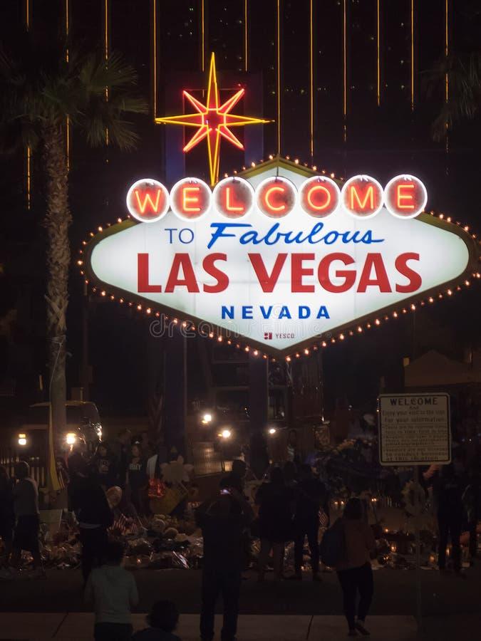 Las Vegas welcome sign by night, Las Vegas, Nevada stock photos