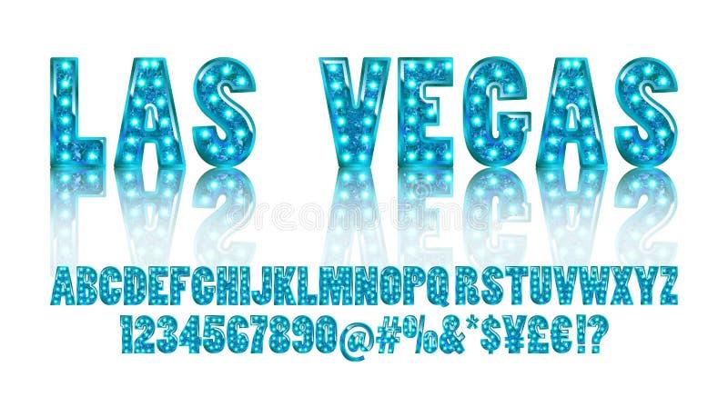 Las Vegas Toont het kleuren Gouden alfabet met lampen stock illustratie
