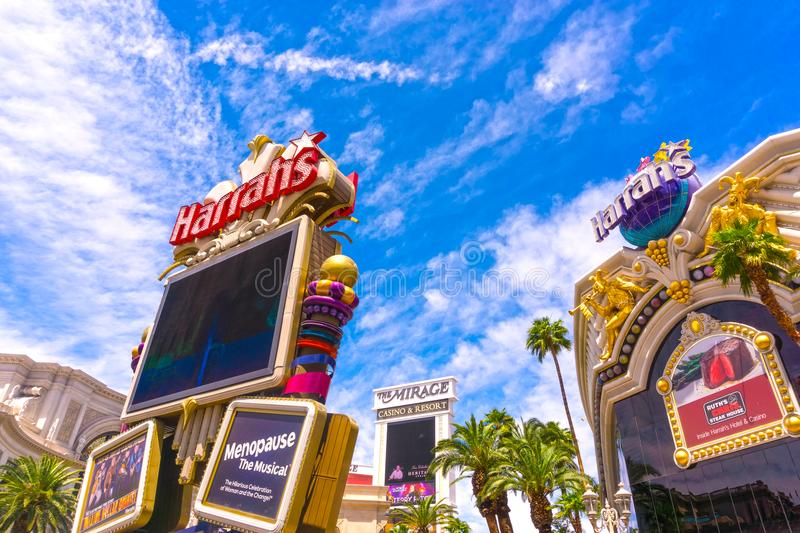 Las Vegas, United States of America - May 05, 2016:The exterior of the Harrah`s hotel and casino on the strip. Las Vegas, United States of America - May 05 stock photo