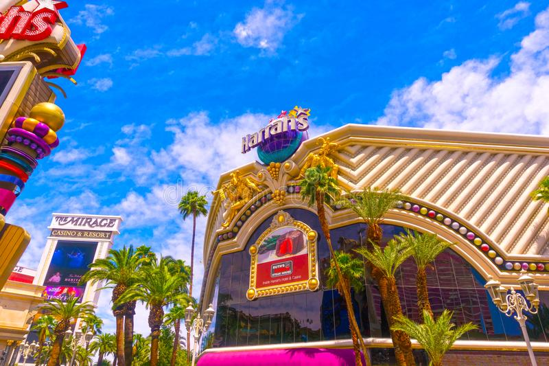 Las Vegas, United States of America - May 05, 2016:The exterior of the Harrah`s hotel and casino on the strip. Las Vegas, United States of America - May 05 stock photography