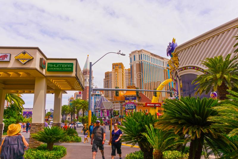 Las Vegas, United States of America - May 05, 2016:The exterior of the Harrah`s hotel and casino on the strip. Las Vegas, United States of America - May 05 stock image