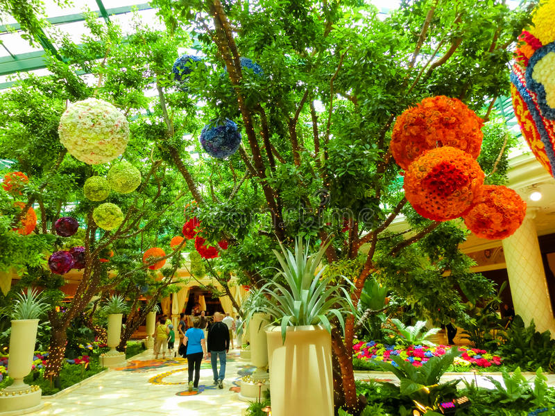 Las Vegas, United States of America - May 06, 2016: Flowers installation at the Wynn Hotel and casino. In Las Vegas. The installation made of 110,000 flowers stock photos