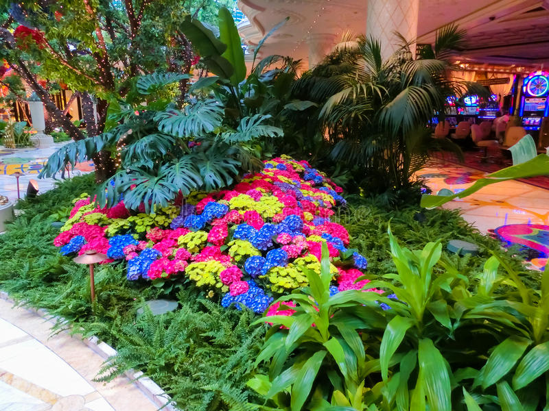 Las Vegas, United States of America - May 06, 2016: Flowers installation at the Wynn Hotel and casino. In Las Vegas. The installation made of 110,000 flowers royalty free stock photography