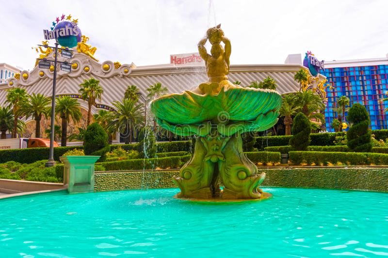 Las Vegas, United States of America - May 05, 2016: The Fountain at Harrah`s hotel and casino on the strip. At Las Vegas, United States of America on May 05 stock images