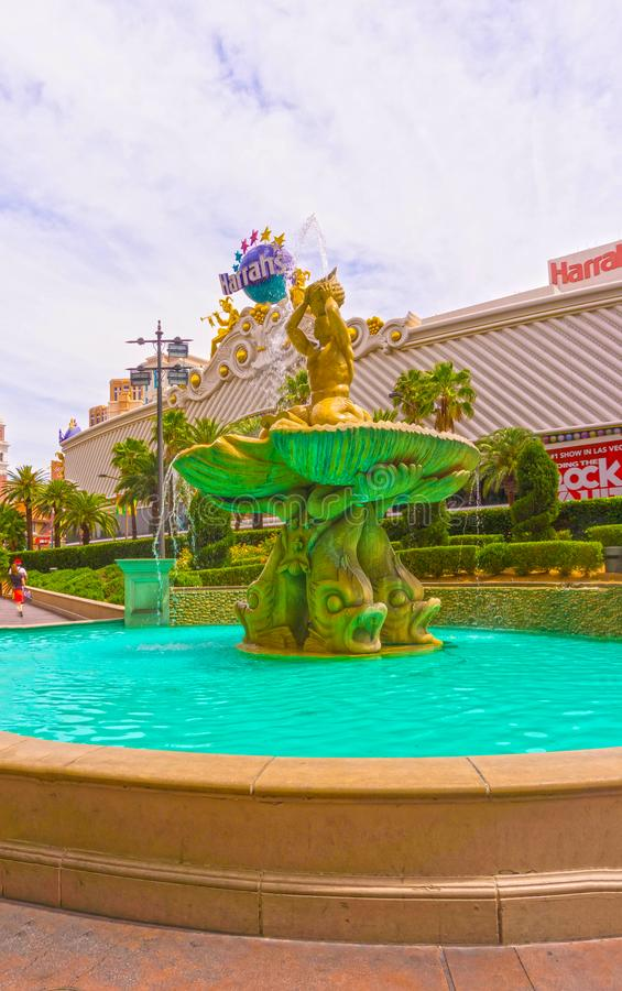 Las Vegas, United States of America - May 05, 2016: The Fountain at Harrah`s hotel and casino on the strip. At Las Vegas, United States of America on May 05 stock photo