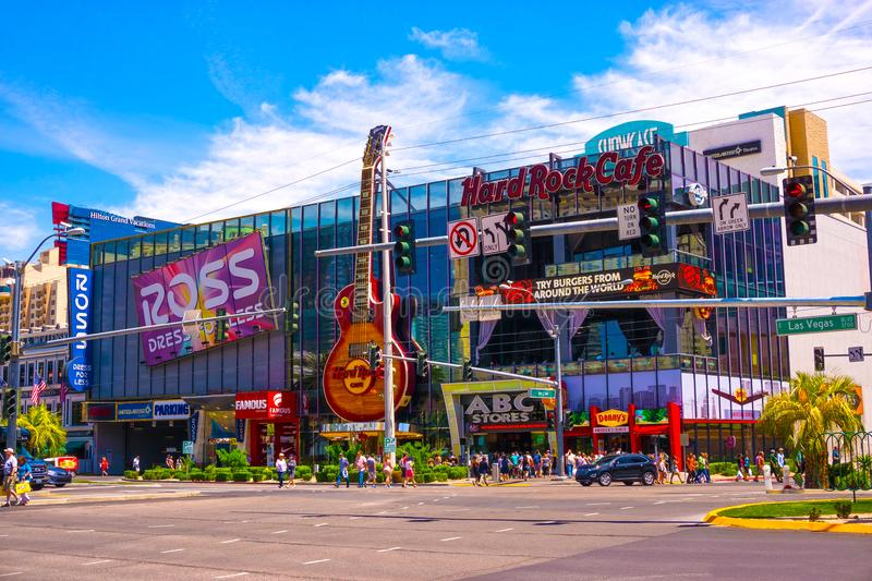 Las Vegas, United States of America - May 05, 2016: The Hard Rock Cafe on the Strip. The Hard Rock sign is embedded in a Gibson Les Paul Guitar II stock photo