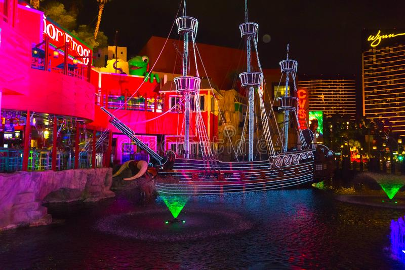 Las Vegas, United States of America - May 07, 2016: The outdoor live free show The Sirens of Treasure Island in Las. Vegas, Nevada on May 07, 2016. The show stock images