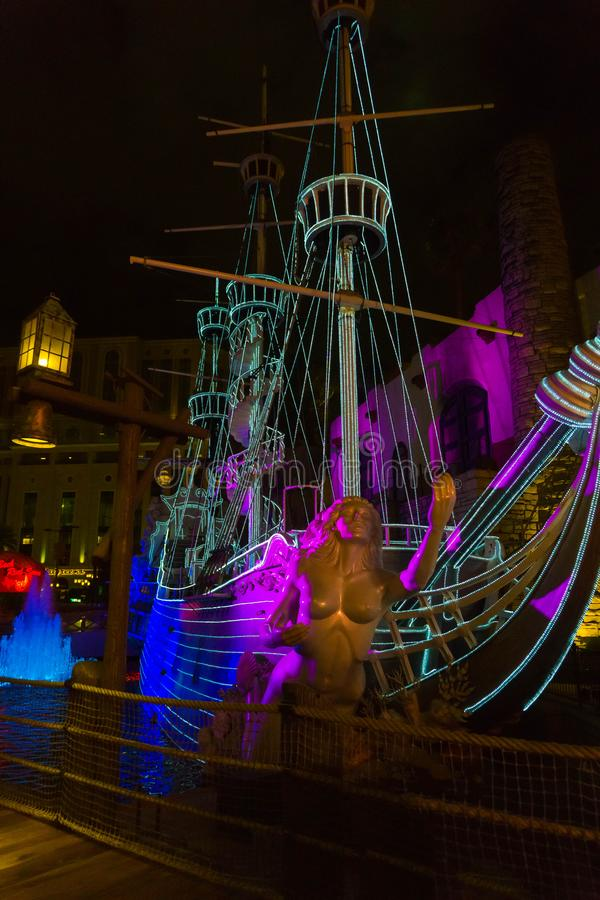 Las Vegas, United States of America - May 07, 2016: The outdoor live free show The Sirens of Treasure Island in Las. Vegas, Nevada on May 07, 2016. The show stock photo