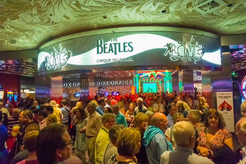 Las Vegas, United States of America - May 06, 2016: Entrance to The Beatles Cirque du Soleil Theater Love Show at The. Las Vegas, United States of America - May stock photos