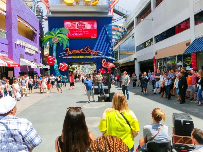 Las Vegas, United States of America - May 07, 2016: The people walking at Fremont Street. Las Vegas, United States of America - May 07, 2016: The street royalty free stock image
