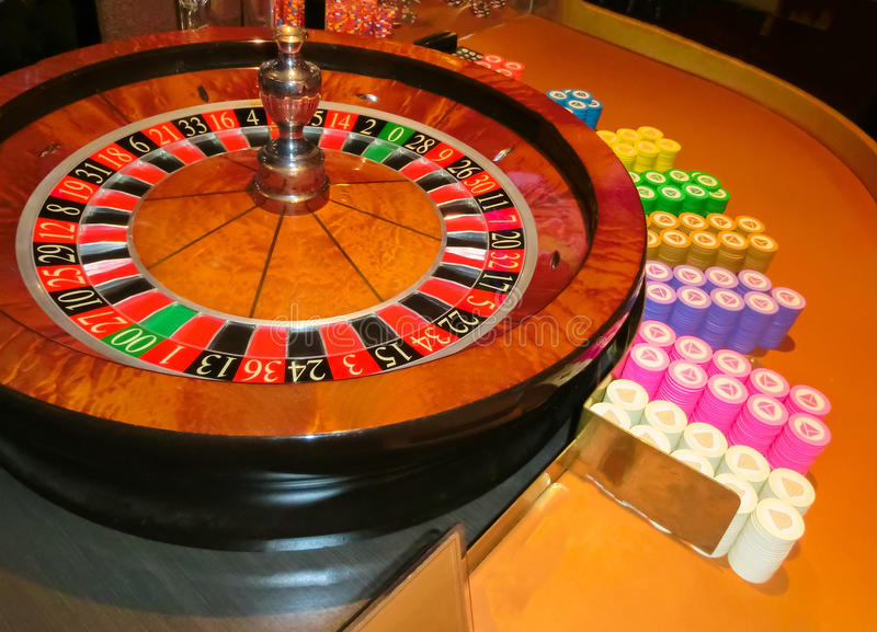 Las Vegas, United States of America - May 11, 2016: The table for card game roulette in the Fremont Casino. At Las Vegas, United States of America stock photography