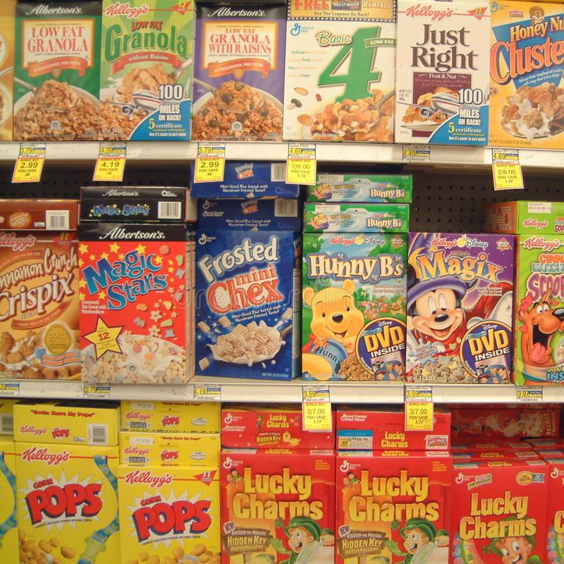 Breakfast cereals sold in Las Vegas. Las vegas, United States - March 30, 2003 : Breakfast cereals sold in a supermarket royalty free stock image