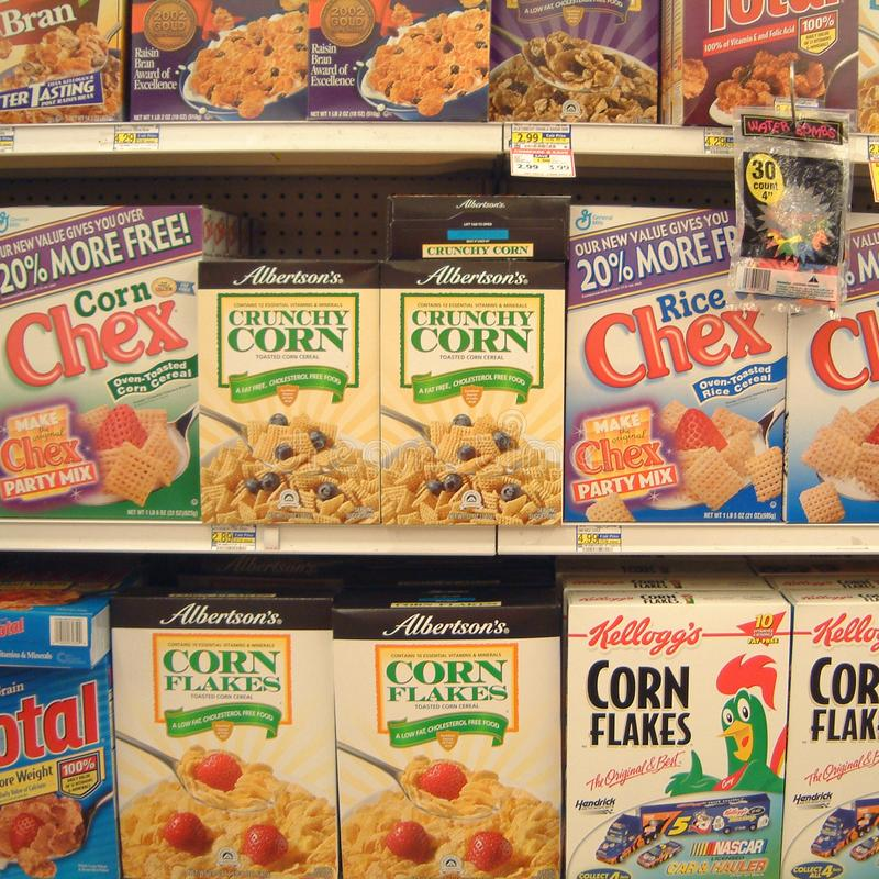 Breakfast cereals sold in Las Vegas. Las vegas, United States - March 30, 2003 : Breakfast cereals sold in a supermarket stock photography