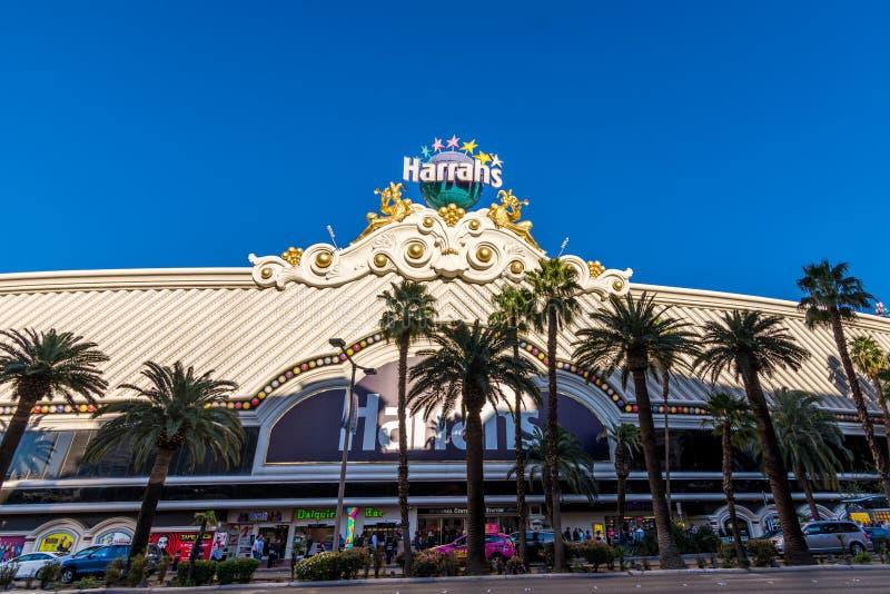 Las Vegas USA - April 27, 2018: Det berömda Harrahs hotellet och casen royaltyfri fotografi
