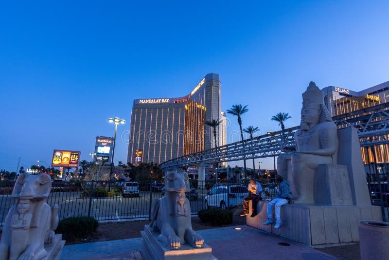 Las Vegas USA - April 28, 2018: Det berömda Mandalay fjärdhotellet in arkivfoton