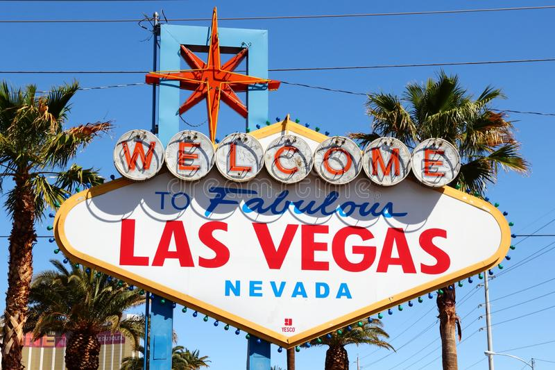 Las Vegas. USA - APRIL 14, 2014: Welcome to Fabulous  Nevada, famous sign. The sign is on National Register of Historic Places stock photo