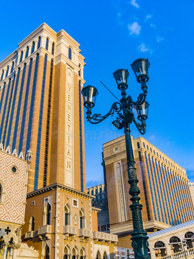 The Venetian Resort Hotel & Casino The resort opened on May 3, 1999 with flutter of white doves, sounding trumpets, singing royalty free stock images