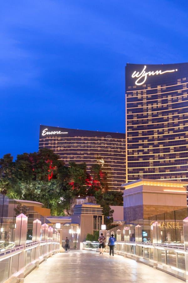 LAS VEGAS, usa - MAJ 29, 2015: WYNN kasyno i hotel przy półmrokiem w Las Vegas, usa zdjęcie royalty free