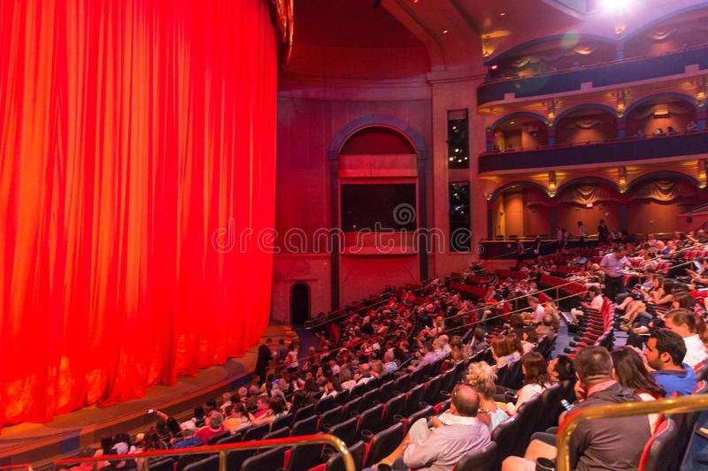 LAS VEGAS, USA - MAY 28, 2015: People are waiting for show O Cirque du soleil to begin in Bellagio Hotel in Las Vegas stock photography