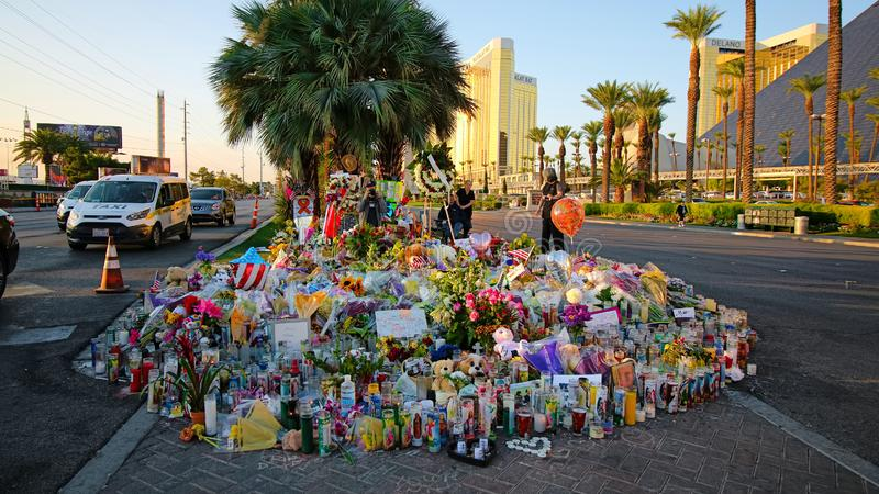 Dedicated flower bed of the Las Vegas Shooting victims. Las Vegas, USA - OCT 07 ,2017 : Dedicated flower bed of the Las Vegas Shooting victims  on the Las Vegas royalty free stock photography