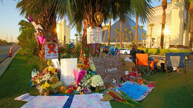 Dedicated flower bed of the Las Vegas Shooting victims. Las Vegas, USA - OCT 07 ,2017 : Dedicated flower bed of the Las Vegas Shooting victims  on the Las Vegas stock photos