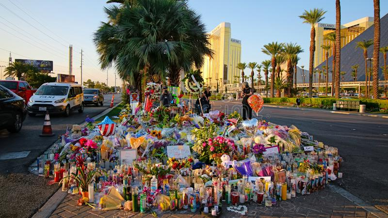 Dedicated flower bed of the Las Vegas Shooting victims. Las Vegas, USA - OCT 07 ,2017 : Dedicated flower bed of the Las Vegas Shooting victims  on the Las Vegas royalty free stock images
