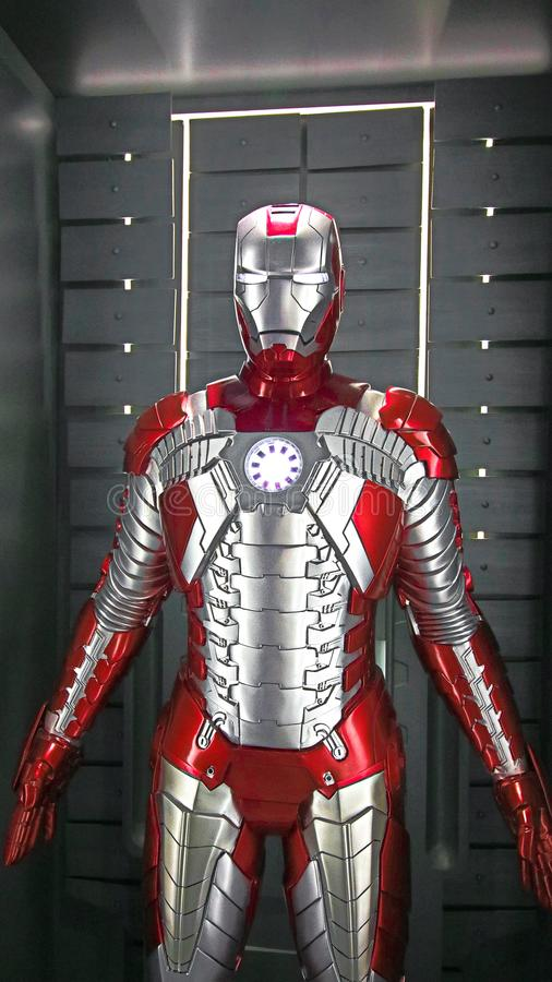 Iron man Type 5 model. Las Vegas,USA - OCT 09, 2017: Iron man Mark 5 model at the Avengers experience in Treasure Island Hotel and Casino on Las Vegas Strip royalty free stock image