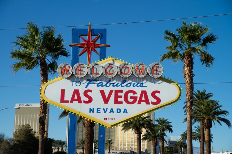 LAS VEGAS, USA - OCTOBER 16, 2018: Welcome to the Fabulous Las Vegas sign, U.S. state of Nevada royalty free stock photo