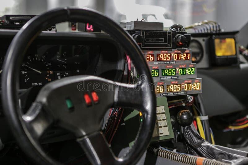Las-Vegas, USA, September 2016 DMC DeLorean Back to the future movie car on auto exebition royalty free stock photo