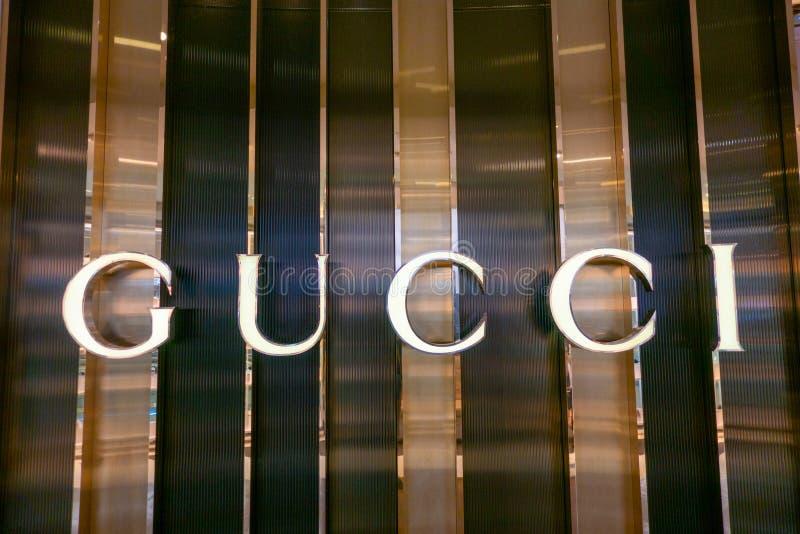 Gucci logo at night. Las Vegas, USA - September 10, 2018: Gucci logo at brand store interior royalty free stock image