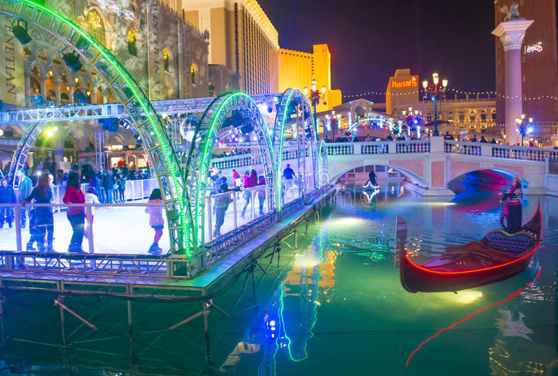 Las Vegas, Venetiaanse hotelijsbaan royalty-vrije stock foto's
