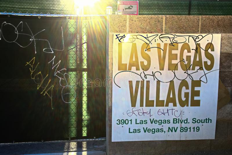 Las Vegas village. LAS VEGAS, NV - SEP 15,2018: Now in Las Vegas village one year after the Las Vegas shooting incident. Here Route 91 Harvest Country Music stock photography