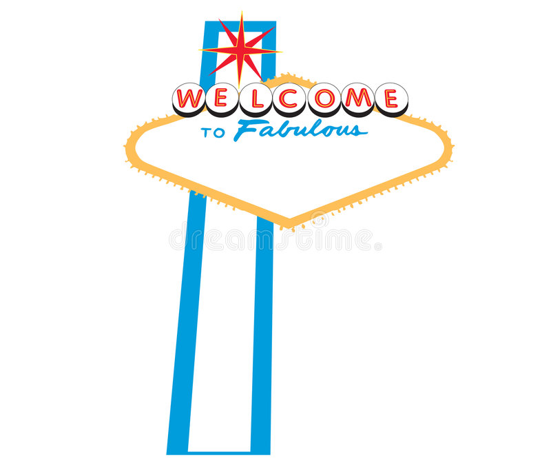 Las Vegas Welcome Sign. An illustrator file showing the words Welcome to Fabulous with a red star above all on a white background. Sign produced in a grunge stock illustration