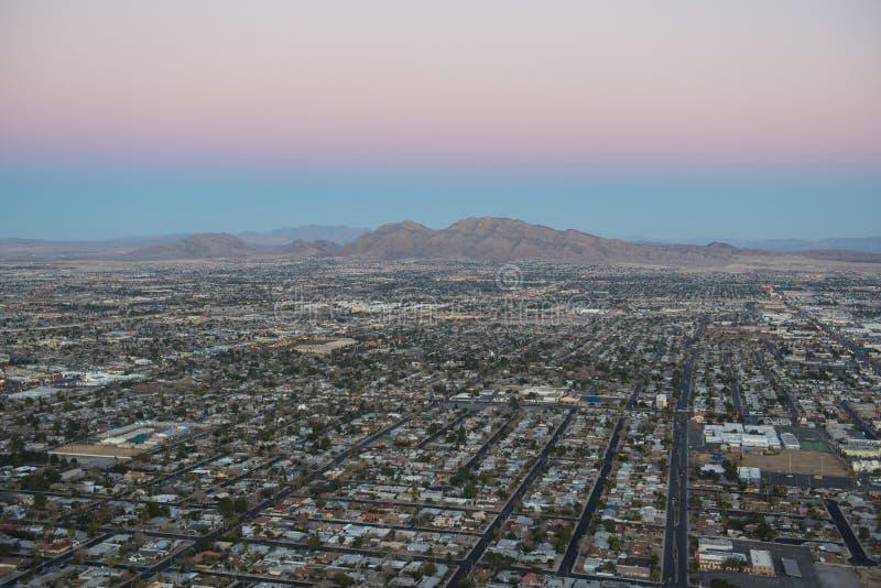 Las Vegas widok z lotu ptaka przy zmierzchem, NV, usa zdjęcia stock