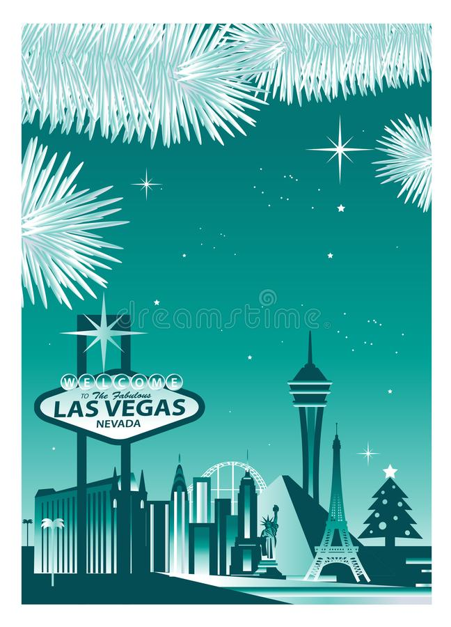 Las Vegas winter skyline stock illustration