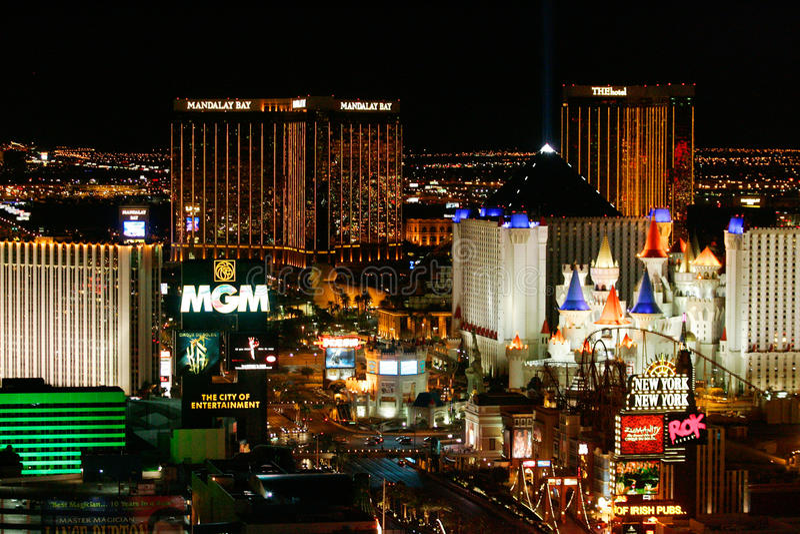 Las- Vegasleuchten nachts lizenzfreie stockfotos
