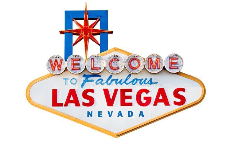 Las- Vegaszeichen getrennt auf Weiß stockfotografie