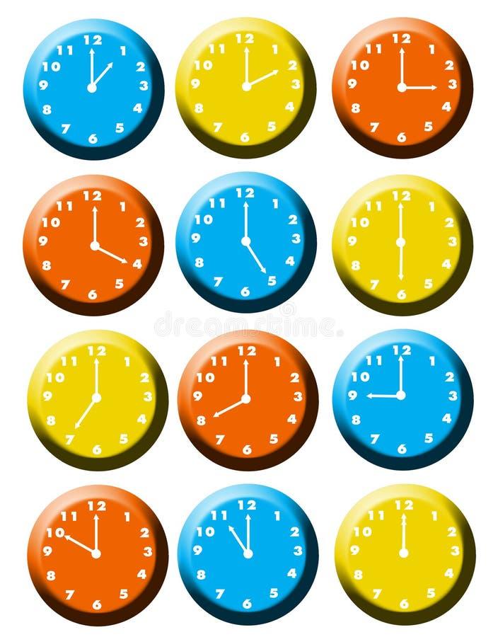 Las veinticuatro horas del día stock de ilustración