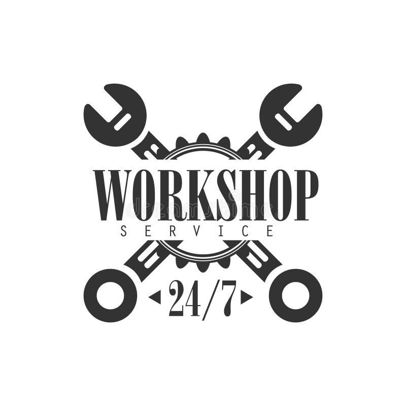 Las veinticuatro horas del día plantilla blanco y negro del diseño de la etiqueta del taller de la reparación del coche con las l ilustración del vector