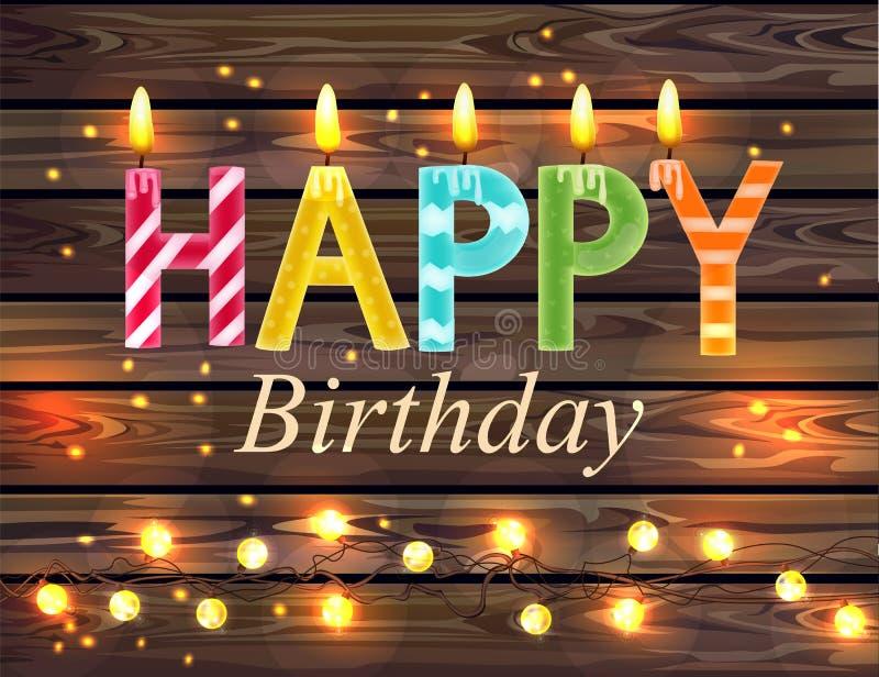 Las velas del feliz cumpleaños mandan un SMS a vector Fondos de madera de las luces ilustración del vector