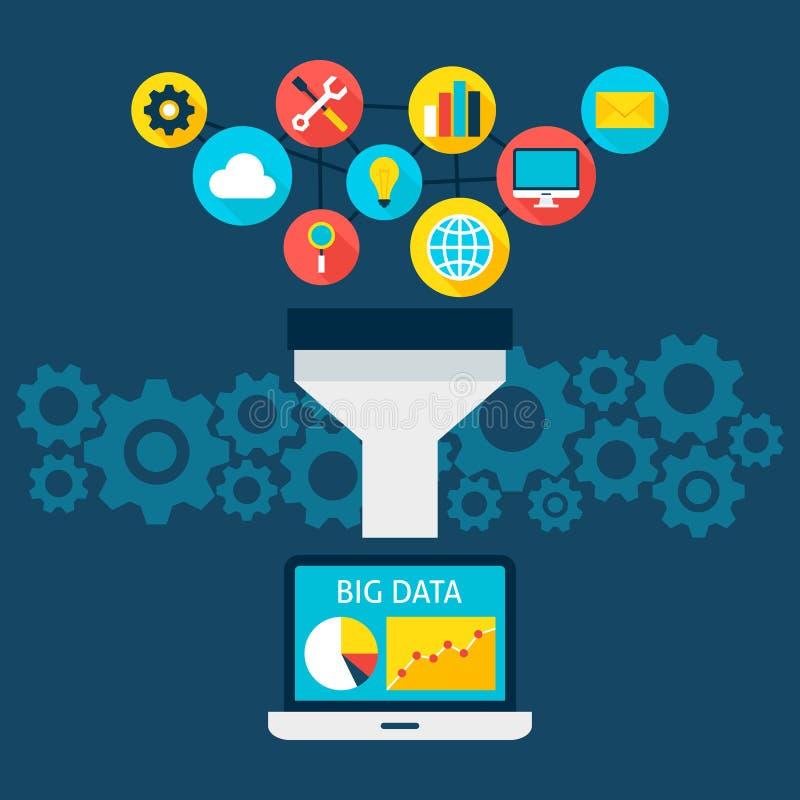 Las ventas concentran concepto plano de los datos grandes libre illustration
