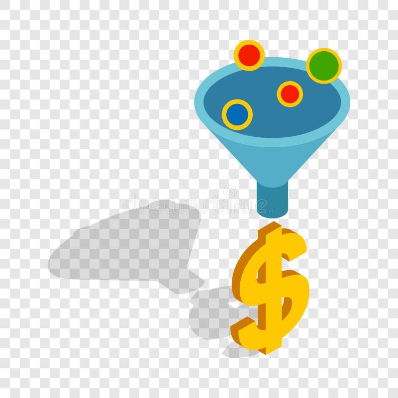 Las ventas concentran el icono isométrico ilustración del vector
