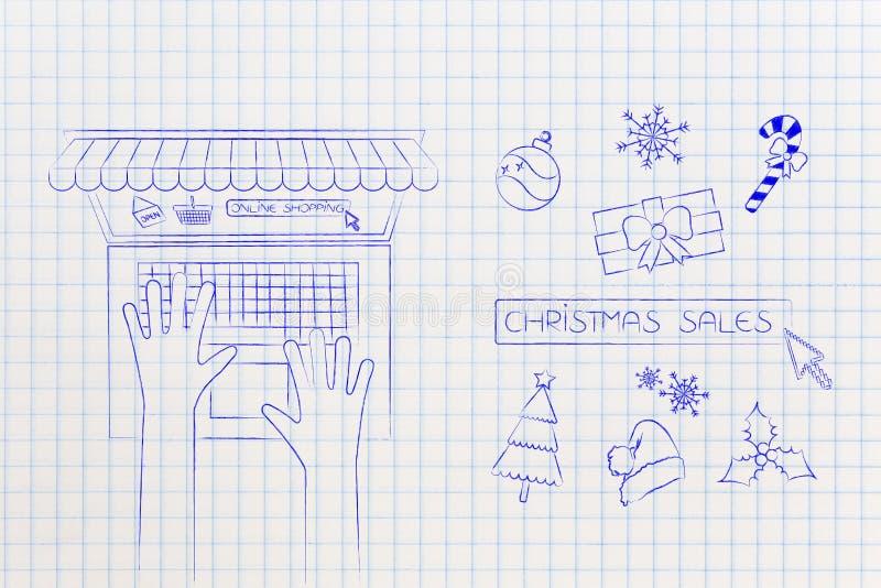 Las ventas de la Navidad abotonan y los iconos al lado de usuario con el ordenador portátil en onl stock de ilustración