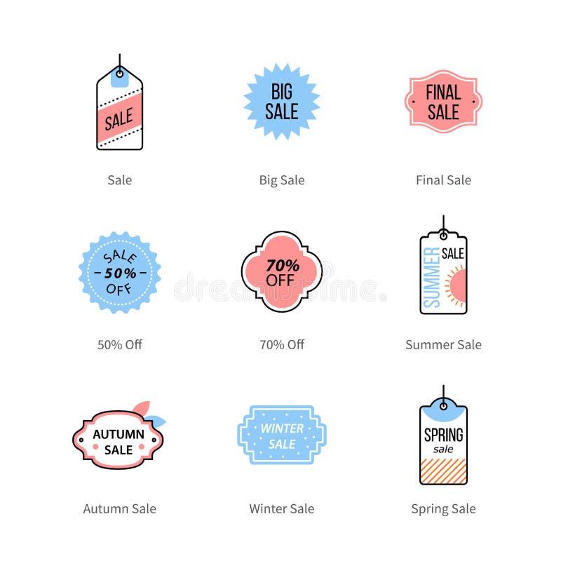 Las ventas de la tienda marcan con etiqueta, las etiquetas de precio, comercializando símbolos stock de ilustración