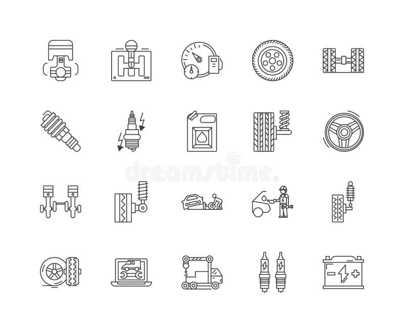 Las ventas de las piezas de autom?vil alinean los iconos, muestras, sistema del vector, concepto del ejemplo del esquema stock de ilustración