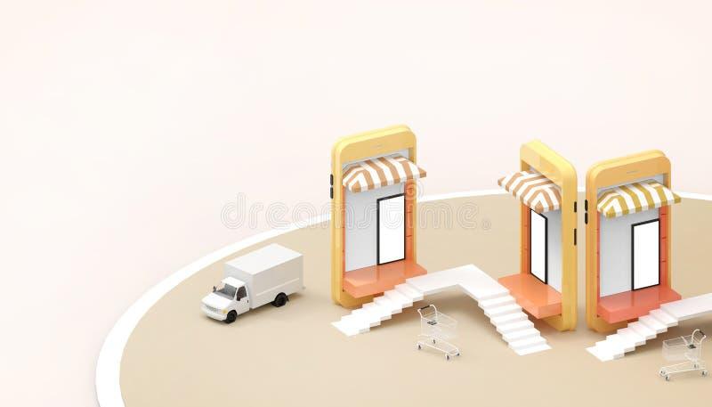 Las ventas que hacen compras en línea en página web o la aplicación móvil conectan y coche de comercialización del concepto y de  libre illustration