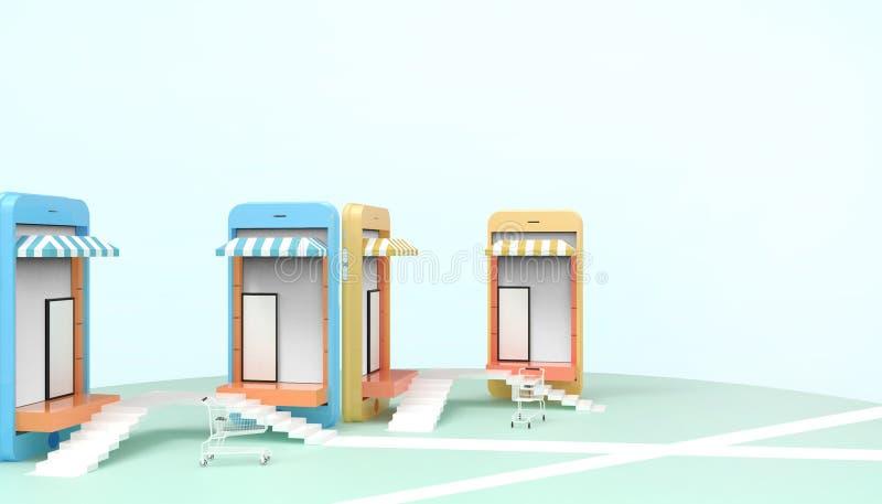 Las ventas que hacen compras en línea en página web o la aplicación móvil conectan y Digitaces que comercializan concepto en líne ilustración del vector