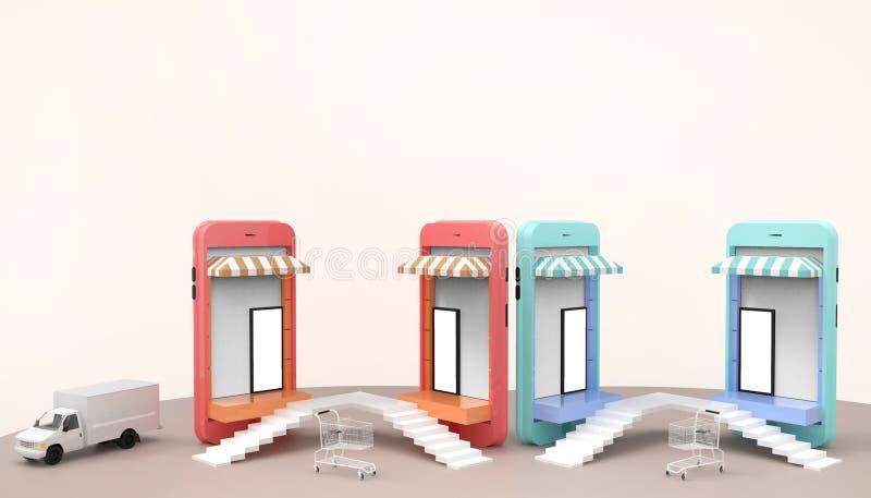 Las ventas que hacen compras en línea en página web o la aplicación móvil conectan y el coche de entrega de comercialización del  ilustración del vector
