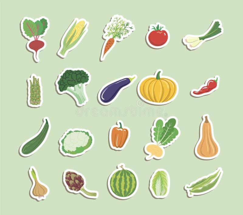 Las verduras colorearon iconos libre illustration