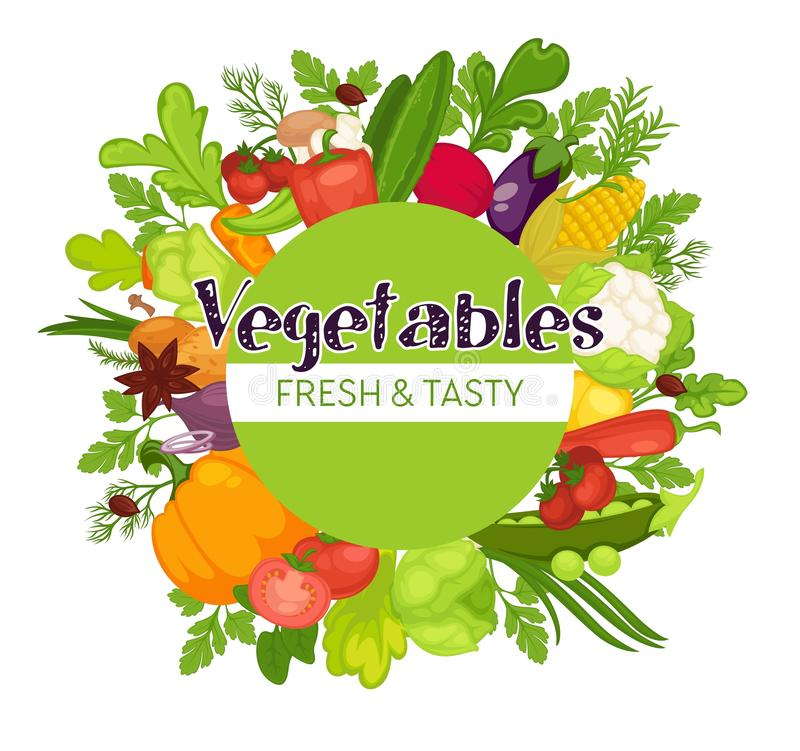 Las verduras cosechan el alimento biológico del otoño que cultiva el cultivo ilustración del vector